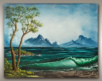 16x20 Large Landscape Nature Painting - Coastal Arbutus on Beautiful BC Beach by Robbie Stroud