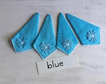 4 Vintage Blue Tea Napkins With Flower Trim