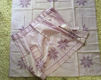 Vintage Lavender Gingham Check Apron & Matching Small Tablecloth