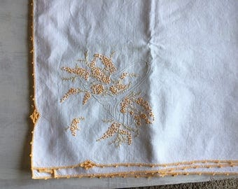 Vintage White Luncheon Cloth With Golden Yellow Embroidery