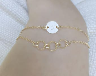 Personalized Circle Bracelet monogram Initial 14k gold filled monogram jewelry 3 eternity ring bracelet hand stamped disc Karma Circle Ring