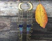 Bhrkuti-Tara... Brass and seed bead moon earrings, handmade, ooak