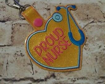 "Proud Nurse - Stethoscope - Bag Tag 3.75"" - 5 x 7 Hoop Only - In The Hoop - DIGITAL Embroidery DESIGN"