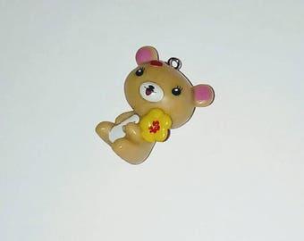 X 1 sitting Teddy bear kawaii and flower