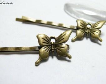 X 1 Butterfly Barrette bronze antique 60 m