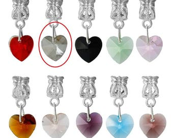 X 1 gray Crystal heart charm pendant and the bail