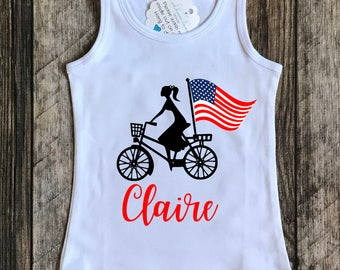 Girls tank bike with flag. 4th of July Patriotic red, white and blue