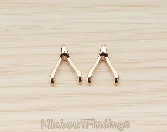 PDT205-01-RG // Glossy Rose Gold Plated SMALL Wishbone Pendant, 2 Pc