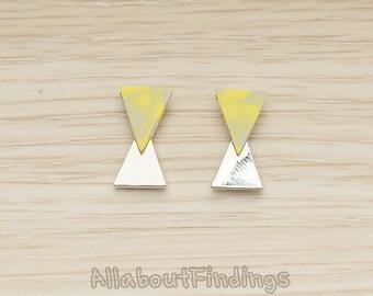 ERG412-R-YE // Glossy Original Rhodium Plated Yellow Earpost, 2 Pc