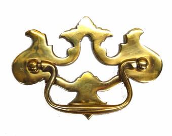 Old Cabinet Hardware CHIPPENDALE Pierced Dresser Pull Solid Brass Oak Vintage Style