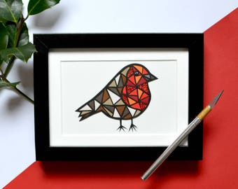 Robin art , Robin artwork , framed Robin picture , Robin papercut , Robin gift , Robin lovers gift , geometric Robin , nature lovers gift
