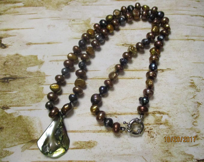 Freshwater Pearls 22 Inches long with Nickle Free Clasp Gold Brown Black Colored Freshwater Pearls Hand Strung Abalone Shell Pendent