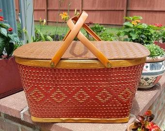 Vintage Redman Picnic Basket Red Picnic Basket BoHo Picnic Basket 1970's Picnic Basket Camping Basket RV Storage Craft Basket Toy Basket