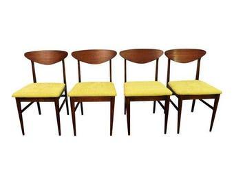 Set of 4 Mid-Century Danish Modern Walnut 'Citron' Shell Back Dining Chairs