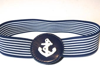 "Vintage Stretch Elastic Belt,Blue and White Striped Cinch Belt,Anchor Belt,Nautical Belt,Expandable 26""-40"" Retro Waist Cincher,Round Buckle"