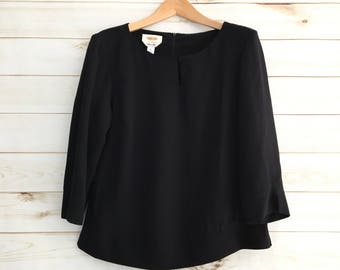 Vintage Talbots Black 100% Silk Blouse Women's Medium