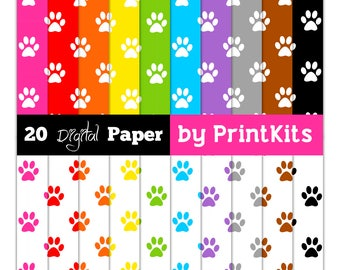 Paw Print Digital Paper Printable Paw Print Paper Basic Digital Paper Paw Print Scrapbook Paper Paw Print Pattern Papel Digital Printkits