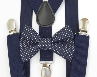 FREE DOMESTIC SHIPPING! Navy blue Suspenders + Navy Blue Small Polka Dot Bow Tie baby toddler kids boy family photoshoot photos formal