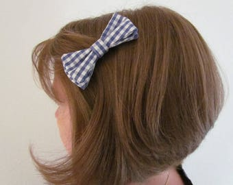 Navy and white Gingham Bow Barrette