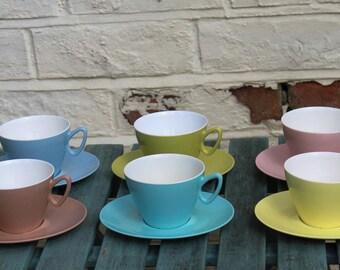 Gaydon Melamine Set of Six Harlequin Colours Cups and Saucers. Great for Glamping, Caravans, Picnics, Festivals and Camper Vans