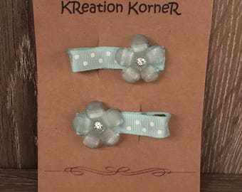 Set of 2 mint green hair clips