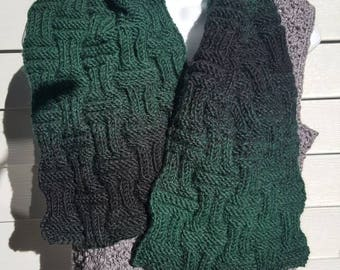 checker board rib scarf. Super soft knit scarf, winter wear, holiday gift, woman scarf, scarves and wraps forrest/black