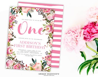 Pink Floral Invitation, First Birthday, One, Watercolor Flowers, 1st Birthday Party, Pink Stripes, Spring Floral Party, Garden Party, Pastel