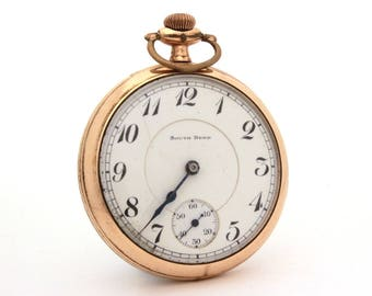 1919 South Bend Pocket Watch 19 Jewel Double Roller, Antique Pocket Watch Serial #896303, Gold Filled Panama Watch Case, For Parts or Repair