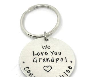 Grandpa Keychain, Gifts for Grandpa,We Love You Grandpa Personalized Hand Stamped keychain-dad-grandma-aunt-uncle-godmother-godfather-top Fa