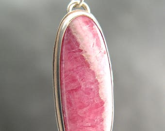 RHODOCHROSITE PENDANT Necklace Made of Sterling Silver