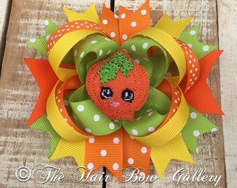 Pumpkin Hair Bow - Halloween boutique bow - Fall Hair Bow - Pumpkin Patch Hair Bow