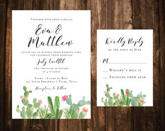 Watercolor Succulent Wedding Invitations; Printable OR set of 25