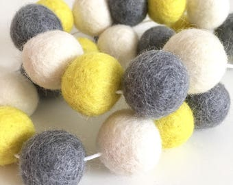 Yellow, grey and ivory felt ball garland