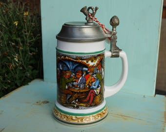 Vintage BMF West German Beer Milk Glass Stein with Tavern Scene-Musical Pewter Lidded Beer Stein