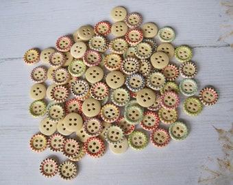 "Set of 5 ""Rétro"" wooden buttons"