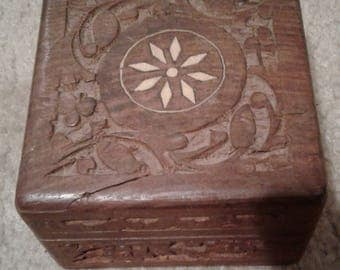 Hand carved box,4inches by 4inches,made in india