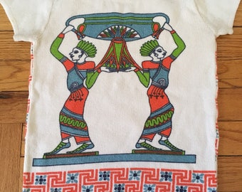 Vintage Women's Sweater Egyptian Print Size XS 1960's 1970's