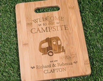 """Personalized Single Wheel Camper Cutting Board 9x6"""" Welcome to our Campsite Bamboo Custom Engraved Cutting Board - Single Wheel Camper"""