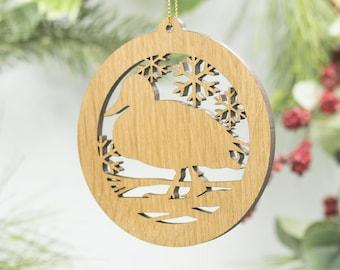 Duck Christmas Wood Ornament - Mallard Silhouette Laser Cut Wooden Tree Decoration - Duck Ornament - Wildlife Ornament - Duckling - Bird