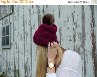 Summer SALE Ready to Ship Hand Knit Hat - Knit Chunky Hat - Merlot Knit Hat - Brown Faux Fur Pompom Accent Ribbed Brim