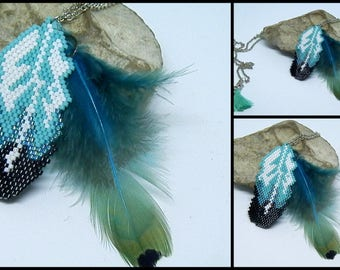 Black, white and turquoise woven feather necklace