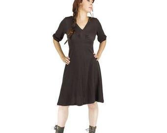 ON SALE Half long boho brown dress V neck trapez cut, casual boho chic dress, mid season dress, seventies vintage wide brimmer hat dress