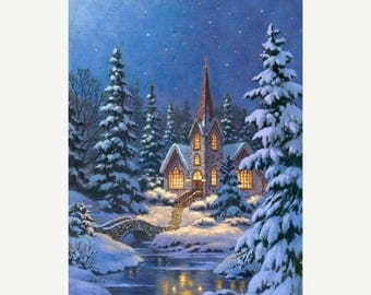 """Christmas in July SALE Silent Night Digital Panel~ Panel 28"""" x 44""""~Christmas Cotton Fabric by~Northcott~Fast Shipping HC518"""