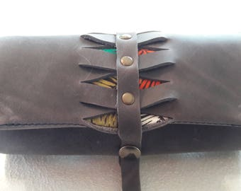 Tobacco pouch 100% leather and grey handmade