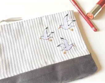Seagull Make-Up Bag // Cosmetics Bag // Toiletries // Bird Accessories // Gifts for Her // Seaside // Stripes // Embroidered