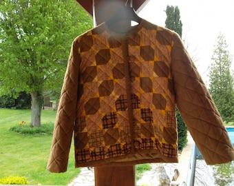 jacket in brown color patchwork 40/42