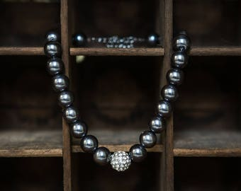 Estate Find chunky rhinestone & gray beaded necklace