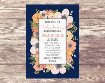 Printed Bridal Shower Invitation, Floral Bridal Shower Invite, Engagement Party Invite, Wedding Brunch, Baby Shower, Floral Shower Invite