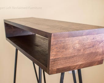 midcentury inspired console table entry table sofa table with hairpin legs