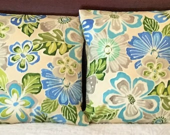Floral Pillow Cover, Blue Cover, Tropical Pillow Cover